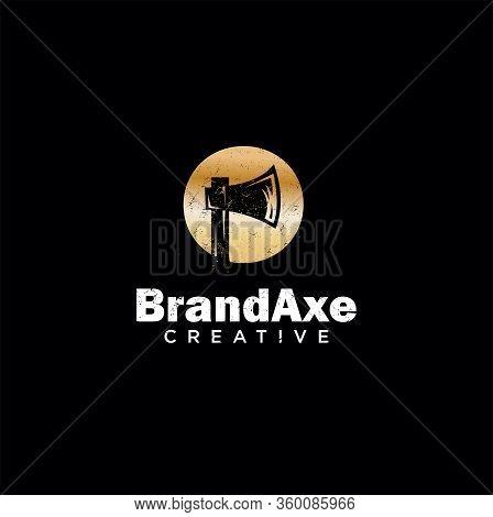 Hatchet Logo Luxury Gold Design Vector Template . Axe Logo Luxury Golden Design Illustration