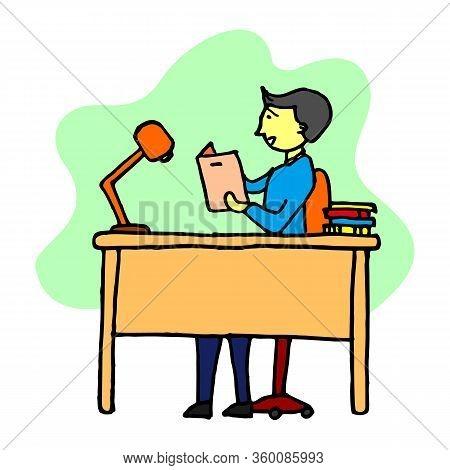 Office Desk, Manager Room, Interior, Of Director Cabinet Illustration, Director Office. Interior Bus