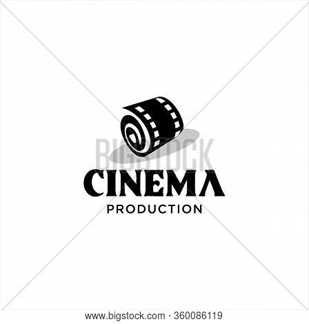 Abstract Cinema Logo Silhouette Vector Template Design Isolated On White Background. Film Media Logo