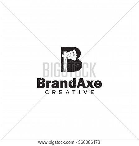 Letter B Hatchet Logo Silhouette Design Vector Template . Latter B Axe Logo Grunge Retro Hipster Des