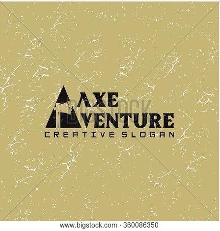 Hatchet Logo Silhouette Design Vector Template . Axe Logo Grunge Retro Hipster Design Illustration.