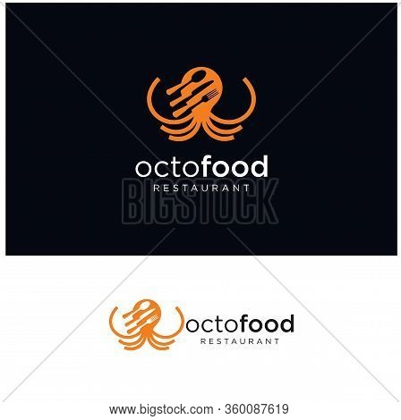 Octopus Fast Food Logo Design Vector Stock . Octopus Seafood Logo Inspirations . Squid Seafood Resta
