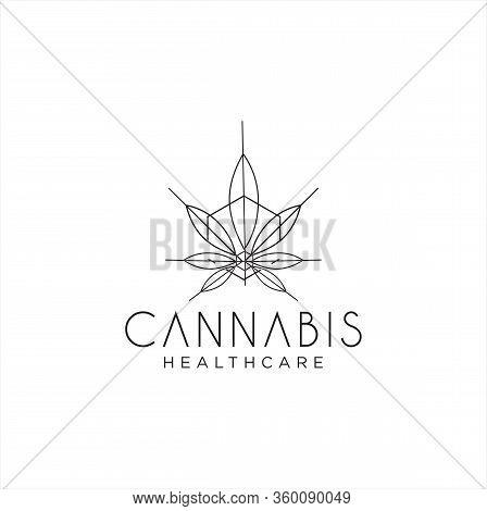 Medical Marijuana Ganja Cannabis Hemp Logo Line Vintage Retro Hipster Organic Nature