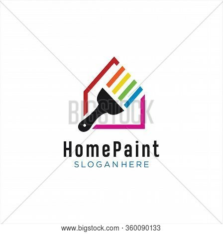Home Paint Logo Colorful Design Vector . House Paint Logo Design . Home Real Estate Painting Service