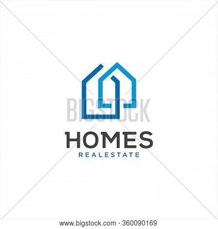 Simple Real Estate Logo Line Design Template . Home Logo Linear Template . House Logo Line Icon