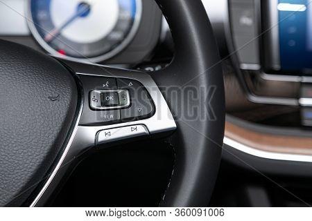 Novosibirsk, Russia - April  02, 2020  Volkswagen Touareg, Car Controller On Steerling Wheel ,music,
