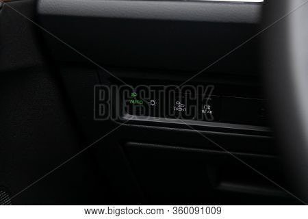 Novosibirsk, Russia - April  02, 2020  Volkswagen Touareg, Close-up On The Headlight Switch Control