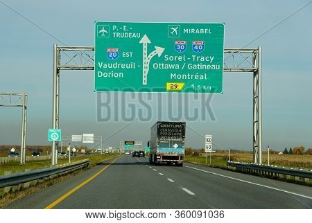 Montreal, Canada - October 28, 2019 - The View Of The Traffic On The Highway Towards The Airports, A