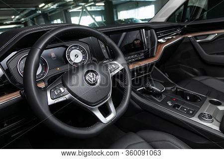 Novosibirsk, Russia - April  02, 2020  Volkswagen Touareg, Luxury Car Interior - Steering Wheel, Shi