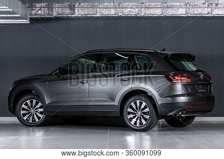 Novosibirsk, Russia - April  02, 2020  Gray Volkswagen Touareg, Back View.  New Expensive  Modern Cr