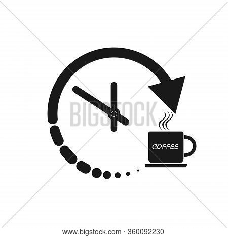 Stylized Clock And Coffee Cup Icon For Logo, Logo, Button Or Information. Stock Illustration Isolate