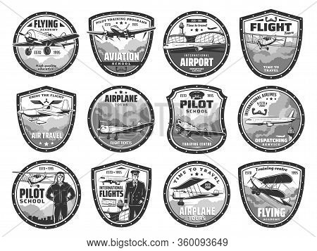 Aviation, Air Travel, International Airport And Pilot School Vector Icons. Aviation Academy, Airplan