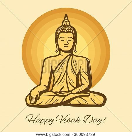 Vesak Day Holiday Vector Greeting Card With Buddha Statue. Buddhism Religion Golden Sculpture Of Med