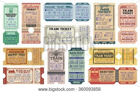 Railway Tickets, Vector Train Travel Passes, Vintage Cardboard And Carton Paper Tickets. Usa America