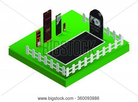 Obsolescence Of Electronics. Ssd Is Burying The Hdd. Isometric Illustration