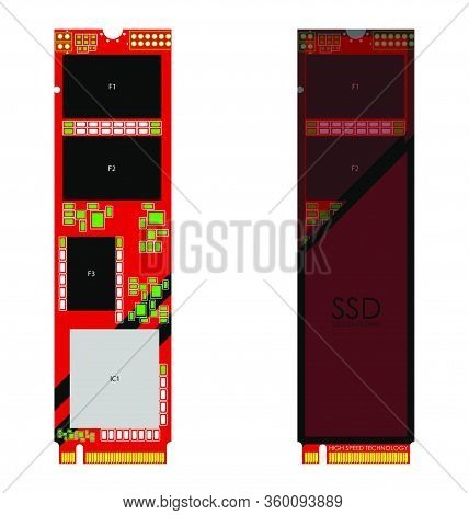 M2 Pci High-speed Ssd Disk In Red-black Colors. Isolated Vector On White Background
