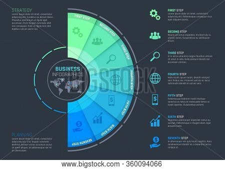 Business Infographics With Vector Template Of Presentation Step Chart, Process Graph Or Options Diag