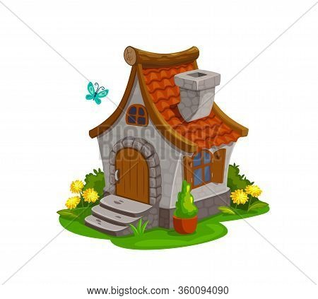 Fairy House, Dwarf Gnome And Elf Home, Vector Isolated Cartoon Icon. Fairy Tale Dwarf Gnome House Hu