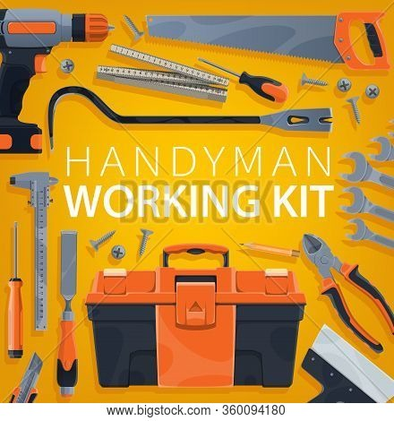 Work Tools, Construction, Home Repair And Carpentry Handyman Working Kit, Vector Poster. Woodwork An