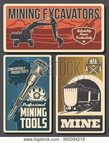 Mine Industry Vector Design Of Coal Mining Equipment And Miner Tools. Hard Hat, Pickaxes, Excavator