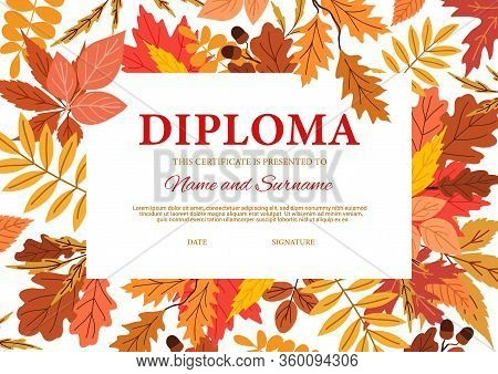 Diploma Certificate With Autumn Leaves, Vector Template. Kindergarten, College Or Kid School Diploma