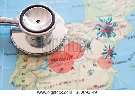 Stethoscope On Spain Map Background. Outbreak Of The Virus Covid-19 In Spain Red Zone