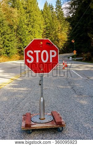 North Vancouver, Canada - April 7, 2020: Stop Sign Controlling Access To Mt. Seymour Provincial Park