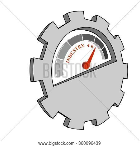 Scale With Arrow. Level Measuring Device Icon. Sign Tachometer, Speedometer, Indicators. Infographic