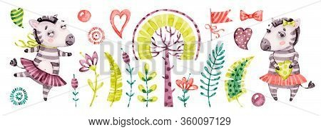 Baby Cute Zebra Girl. Vector Watercolor Nursery Cartoon Jungle Animals Horse, Tropical Trees, Leaves