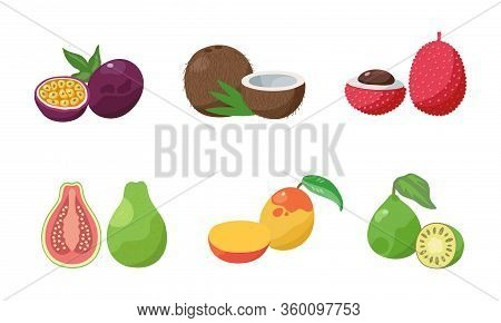 Set Of Two Slices Passion Fruit, Coconut, Lychee, Guava, Mango, Feijoa. Vector Illustration In Flat