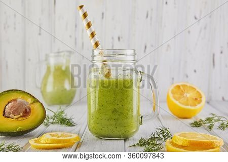 Healthy Green Smoothie, Healthy Eating And Nutrition, Lifestyle, Vegan, Alkaline, Vegetarian Concept