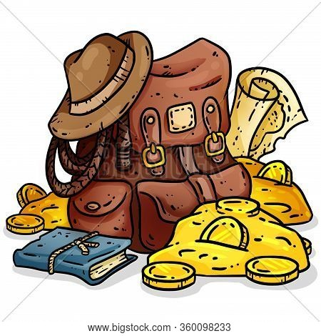 Adventurer Pack Lineart Image. Treasure Hunter Comic Style Picture. Archaeologist Gold-digger Backpa