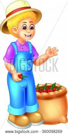Handsome Farmer In Blue Jumpsuit And Brown Hat With A Sack Full Of Tomatos Cartoon