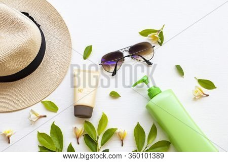 Sunscreen Spf50  Cosmetics Health Care For Skin Face, Sunglasses, Body Lotion, Hat And Yellow Flower