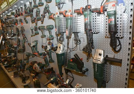 Kyiv, Ukraine - March, 26, 2020: Hand-held Electrical Working Tools Such As Angle Grinders, Screw Gu