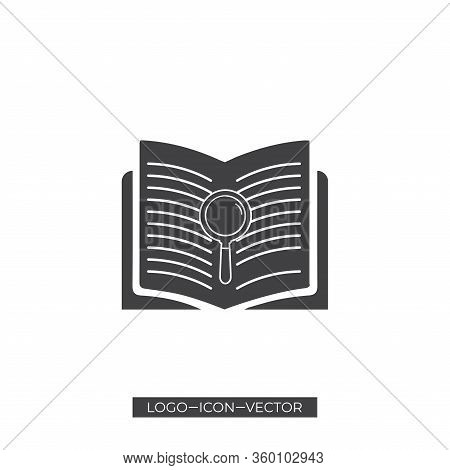Glossy Mesh Search Book Icon With Lightspot Effect. Abstract Illuminated Model Of Search Book. Shiny