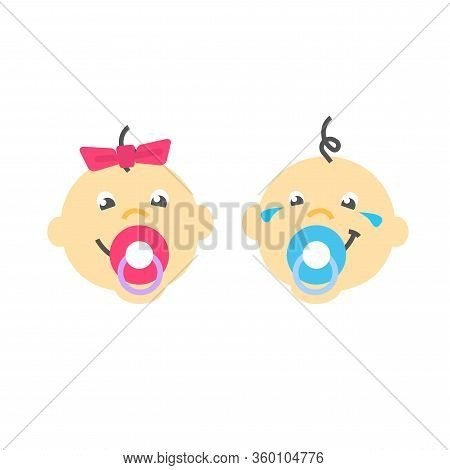 Infant Baby Faces Sucking Pacifier Vector Flat Icon Design Or Cute Happy Kid Boy And Girl Heads Cart