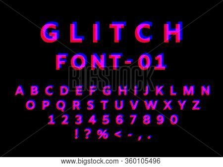 Glitch Font With Distortion Effect. English Letters, Numbers And Symbols With Glitch Effect. Red And