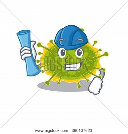 Cartoon Character Of Insthoviricetes Brainy Architect With Blue Prints And Blue Helmet