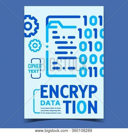 Data Encryption Creative Advertising Poster Vector. Cipher Text By Binary Encryption Code Computer S