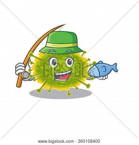 Cartoon Design Concept Of Insthoviricetes While Fishing