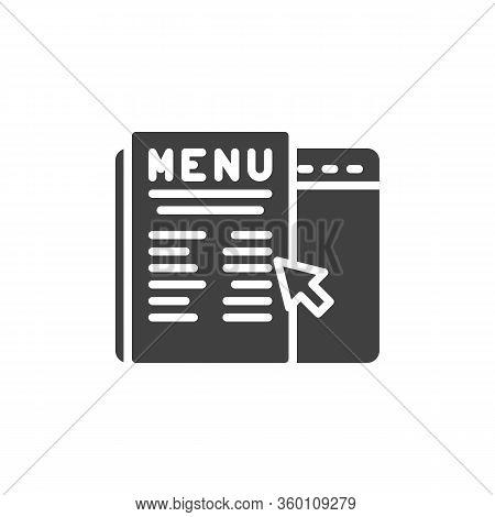 Online Food Ordering Vector Icon. Filled Flat Sign For Mobile Concept And Web Design. Online Restaur