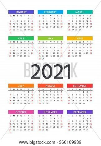 Calendar 2021 Year. Week Starts Sunday. Vector. Simple Template Of Pocket Or Wall Calenders. Yearly