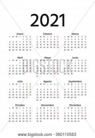 Spanish Calendar 2021 Year. Vector. Week Starts Monday. Spain Calender. Simple Of Pocket Or Wall Tem