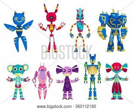 Set Of Funny Cartoon Robots. Cute Retro Robots. Robotic For Children. Friendly Android Robots Charac