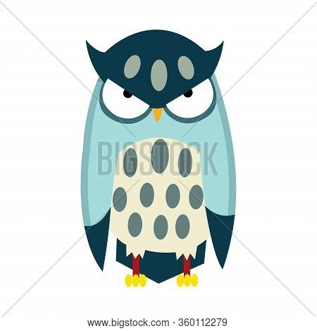 Cute Funny Owl. Forest Bird. Decorative And Style Toy, Doll. Severe Bird In Flat Style. Isolated Chi