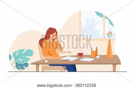 Young Author Or Writer Working On New Article. Woman Sitting At Clean Paper, Crumpling Pieces Of Dra
