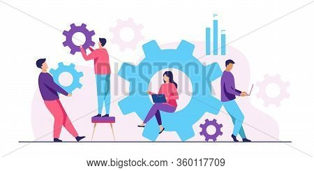 Business Team Working On Cogwheel Mechanism Together. People Carrying Gears, Using Laptops . Vector