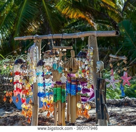 Specifical Trinkets And Colorful Handicraft Items Made From Shells, Bamboo And Palm Trees, Offered F