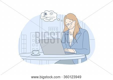 Office Work, Dream, Summer Vacation, Business Concept. Young Businesswoman Girl Clerk Manager Workin